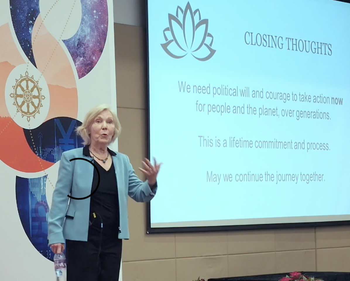 Clair Brown presents keynote at International Buddhist Economics conference